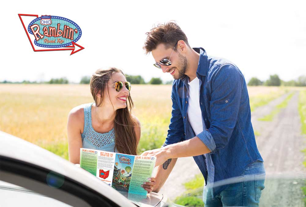 Couple looking at destination map