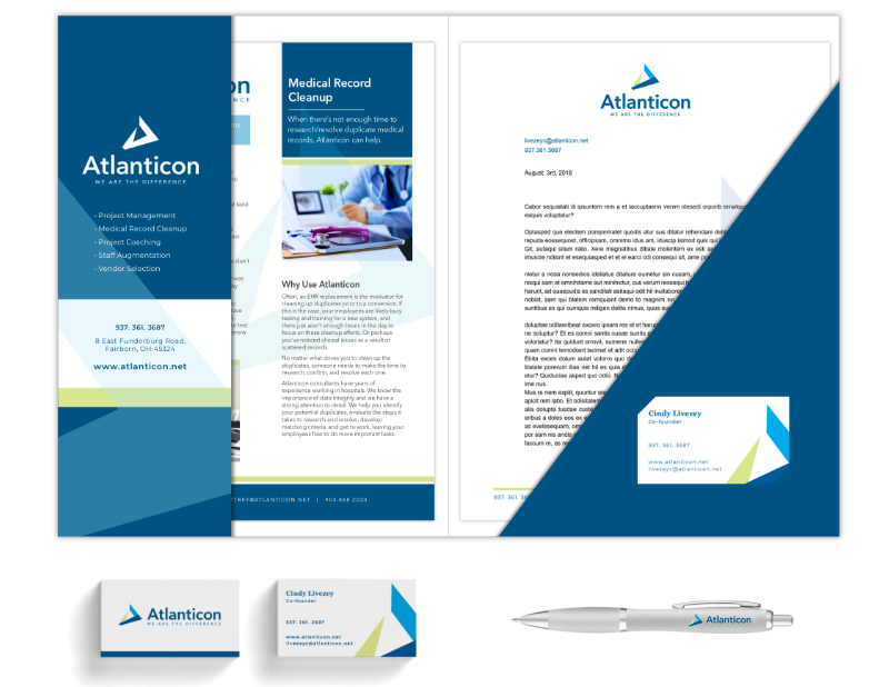 Atlanticon full print. Folder, brochure, business cards, pen, etc.