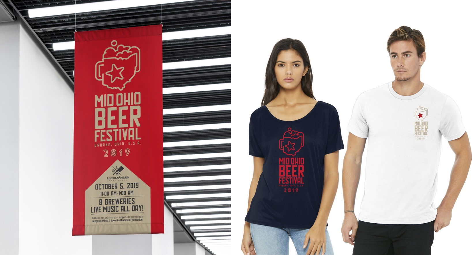 Mid Ohio Beer Fest Hanging Banner and Apparel